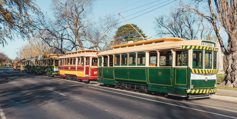 Led by No. 13, five other trams line up for a cavalcade