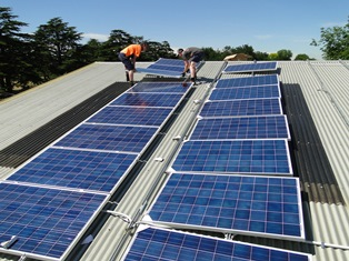 Solar panels being installed on the depot roof